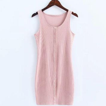 PEAPUF3 Sexy show body knit cotton front button vest type sexy dress Pink