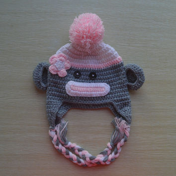 Crochet Light Pink Sock Monkey Baby Beanie/Hat With Flower