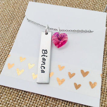 Personalized Name Necklace,  Heart Necklace, Name Necklace, Tag Necklacr, Bar Necklace