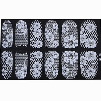 DIY Lace Nail Art Stickers with Super Glue for Long Nails Wholesale
