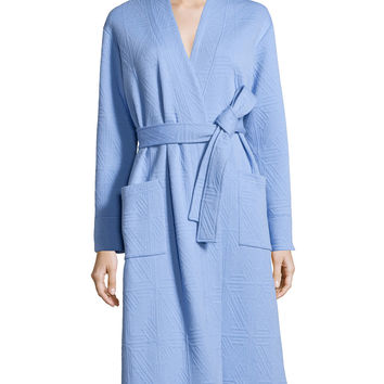 Long-Sleeve Jacquard Robe, Surf Blue, Size: