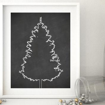 "Christmas tree print, chalkboard Christmas tree silhouette printable poster, 20x16"" printable decor, chalkboard holiday decor - cta005"