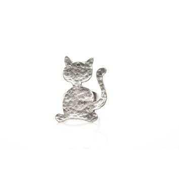Cat Antique Silver Plated Ring Adjustable