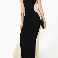 Black and Apricot Color Block Sleeveless Slim Maxi Dress