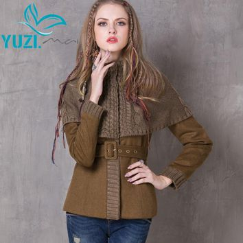 Winter Women Coat Vintage New Wool Coats Long Sleeve Knitting Patchwork Belted Body con