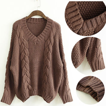 Brown V-Neck Ribbed Knit Pullover Sweater
