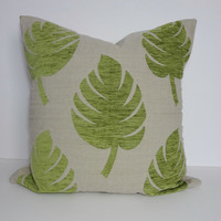 Green Leaf Decorative Pillow Cover, Lime Green Pillow Cushion, 22 x 22