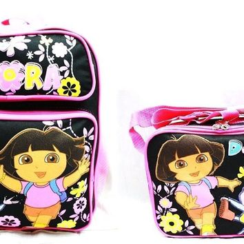"Dora Kids 14"" Canvas Black & Pink School Backpack w/Insulated Lunch Bag"