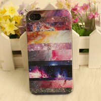 Galaxy Painted Colorful Star Hard Cover Case For Iphone 4/4s