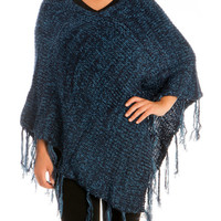Navy V-Neck Pullover Knitted Poncho