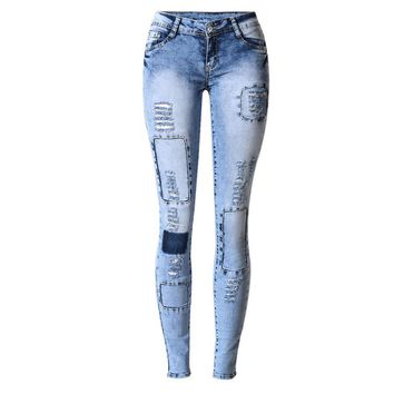 Sherhure Jeans Woman Elastic Patch Women Pencil Jeans Fashion Brand Plus Size Ripped Jeans For Women Denim Pants Jeans Femme