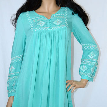 MONORENO TUNIC DRESS EMBROIDERED BIB BACK -S-M-L MINT