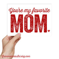 Funny Mother's Day Card - You're my Favorite Mom Greeting Card Geekery Funny Favorite Mum Kraft Envelope