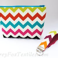 Handmade of designer fabric colorful Chevron cosmetic case / zipper pouch / organizer / clutch in fuchsia, turquoise, teal. chartreuse