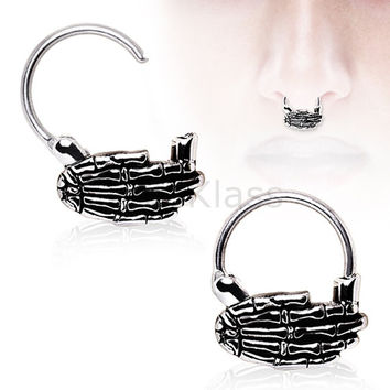 Septum Jewelry 316L Surgical Steel Septum Clicker with Skeleton Hand
