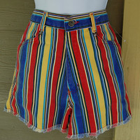 Vintage 80s Bonjour Striped Blue Red Aqua Yellow Green Black Frayed Cutoff High Rise Waisted Jean Shorts Size 5/7 27 Waist