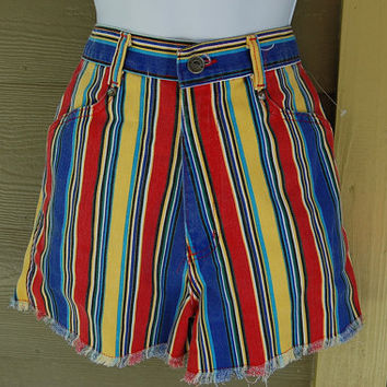 c2d6c613581e Vintage 80s Bonjour Striped Blue Red Aqua Yellow Green Black Fra