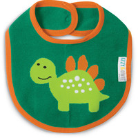 Aqua and Orange Dino Baby Bib