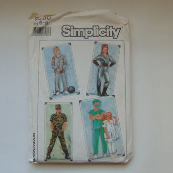 Simplicity 8890 Adult Costume Sewing Pattern Spaceman, Doctor, Nurse, Soldier, Prisoner Size 6-8