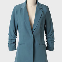 Olera Peak Ruched Blazer In Dusty Blue