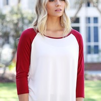 Crimson PIKO 3/4 Sleeve High-Low Baseball Tee