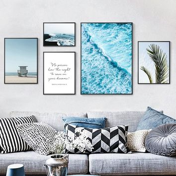 Nordic Decoration Home Art Beach Scenery Tropical Palm Leaves Seascape Canvas Painting Blue Ocean Poster Wall Art Pictures