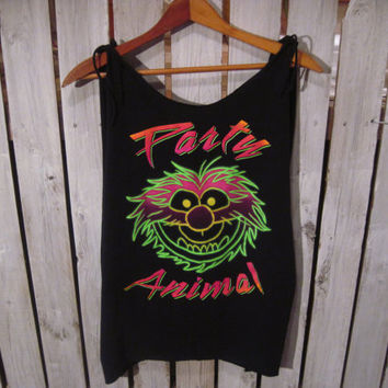 Party Animal Reconstructed T-Shirt, Disney, Glow in the Dark, Women's Size Medium Very Cute On. Cover-Up, Boyfriend Tshirt