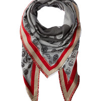 Alexander McQueen Cash-Cotton Skull Triangle Scarf