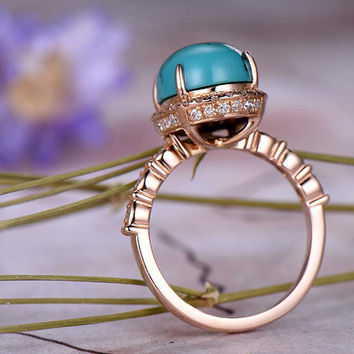 8x10mm Oval Cut Turquoise Engagement Ring.Double Halo,14k Rose Gold,Anniversary,Bridal wedding Band,Art deco Marquise,Prong,Gift for her