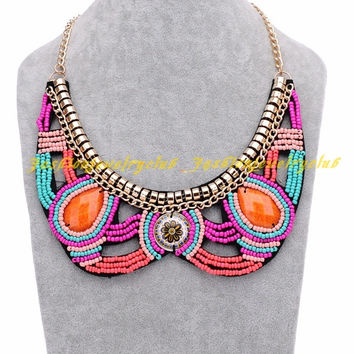 New Vintage Tribal Handmade Candy Color Resin Bead Statement Bib Collar Necklace = 1958578052