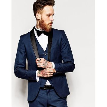 2016 High Quality Navy Blue Groom Tuxedos Notch Lapel Groomsmen Men Wedding Tuxedos Dinner Prom Suits (Jacket+Pants+Vest+Tie)