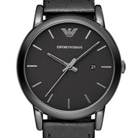 Men's Emporio Armani Leather Strap Watch, 41mm
