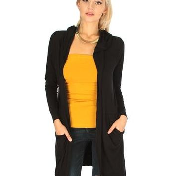 BLACK LONG-LINE HOODED CARDIGAN WITH POCKETS RC1124