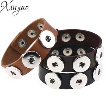 Punk Gothic Leather Snap Button Bracelets Unisex in 14 colors