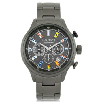 Nautica Designer Men's Watches NCT 16 Brushed Gunmetal Stainless Steel Men's Chronograph Watch