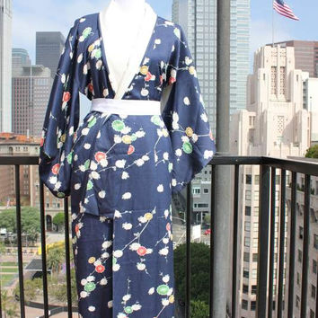 Vtg Authentic Japanese Kimono and Tie Navy Floral Long Floor Length