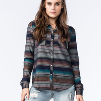 Roxy Camp Site Womens Flannel Shirt Navy  In Sizes