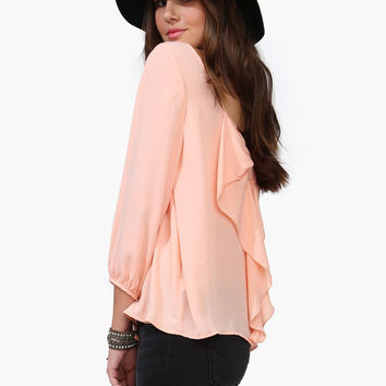 Bow Back Long Sleeve Chiffon Blouse