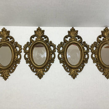 "4 Burwood Small Mirrors, Ornate Gold 7 3/4"" Tiny Mirrors"