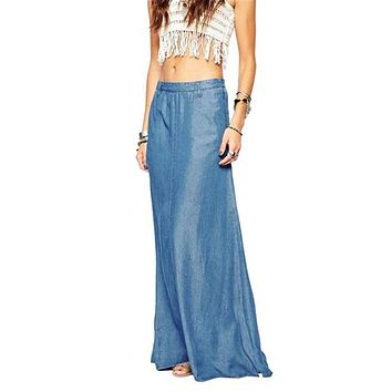 2017 Summer Long Maxi Skirt High Waisted Floor Length Denim Jeans Skirts Women Casual A Line Jupe Saia Jeans longa With Pockets