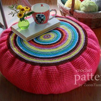 Crochet Pattern Colorful Crochet Floor Cushion (Pouf)