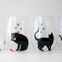 Cat and Yarn Stemless Wine Glasses -- Set of 2 Hand Painted Black Cat Silhouette Glasses