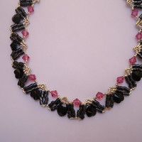 Black Heart Swarovski Necklace with pink swarovski crystals, silver Delicas and Hematite beads with silvertone chain and heart toggle