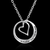 FREE A Mothers Love Has No End Silver Heart Crystal Bib Necklace