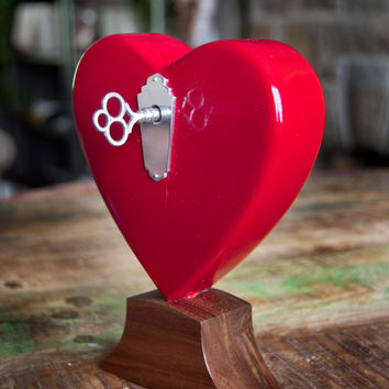 Musical Wooden Heart (Red) Standing Music Box Decoration, Walnut Base