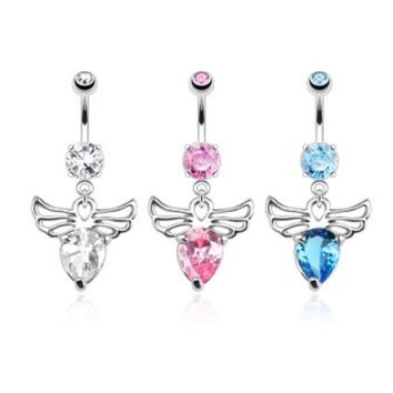Angel Wings with Pear CZ 316L Belly Ring