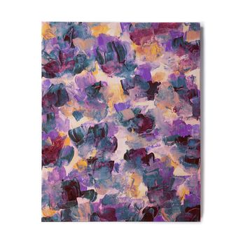"""Ebi Emporium """"Floral Spray 2"""" Green Teal Floral Abstract Painting Mixed Media Birchwood Wall Art"""