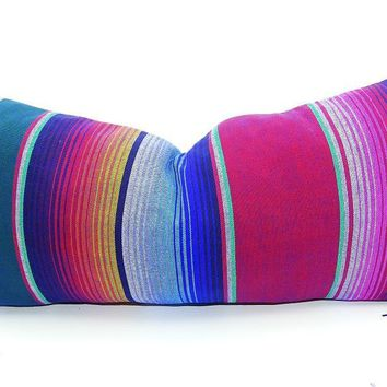 Blue Long bolster pillow cover 14x28, Tribal Aztec Mexican cushion, Throw Boho chic, lumbar, Feliz Navidad, Mexican pillow shams