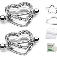 "2pcs Clear Gem Paved Heart Nipple Shield Ring 14GA 7/8"" Length"