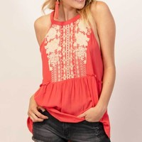 Guava Embroidered Peplum Top